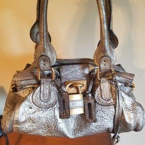 Chloe Metallic leather padington bag